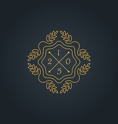 Floral monogram simple and graceful design vector