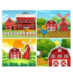 Four scenes of farmyards vector
