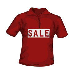 Front view of red color male t-shirt with sale vector