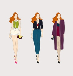 Hand drawn fashion girls vector image vector image