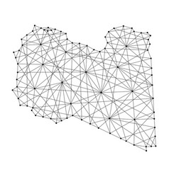map of libya from polygonal black lines and dots vector image vector image