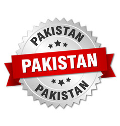 Pakistan round silver badge with red ribbon vector
