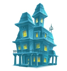 Preview scary haunted house in halloween on white vector