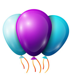 Realistic purple blue balloons with ribbons vector