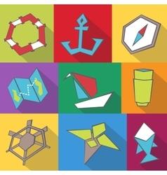 Sea travel icons vector