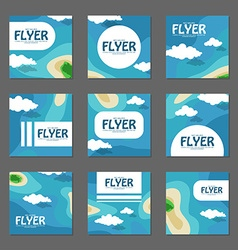 Set of square flyers with the sea and the islands vector image vector image