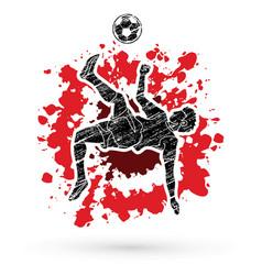 Soccer player somersault kick overhead kick vector