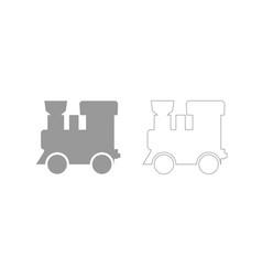 steam locomotive - train grey set icon vector image