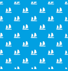 vietnamese junk boat pattern seamless blue vector image vector image
