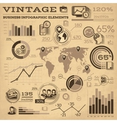 Vintage Business Infographic Elements vector image