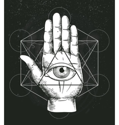 Hipster with sacred geometry hand vector