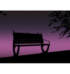 Stencil bench against the backdrop of a starry vector