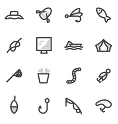 Set of icons of fishing camping hunting vector