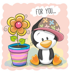 Cute cartoon penguin with flower vector
