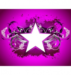 Star with floral elements vector