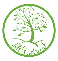 A green all natural label vector