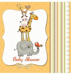 Baby shower card with funny pyramid of animals vector