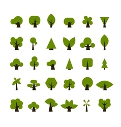 Set of green tree icons for your design vector image