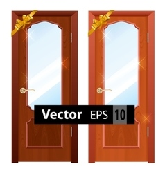 Entrance wooden doors on a white background vector