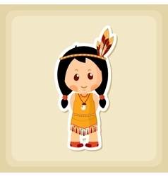 American indian children icon thanksgiving day vector