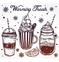 Tasty warming drinks set in vintage style vector