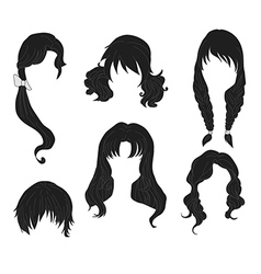 Hair styling for woman drawing black set 4 vector