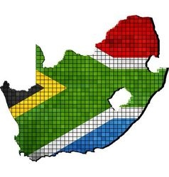 South Africa map with flag inside vector image