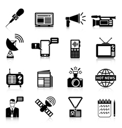 Media black white icons set vector