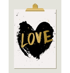 Black heart love poster vector