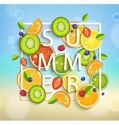Summer background with fruits and berries vector