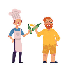 Bearded man and young chef drinking bear toasting vector