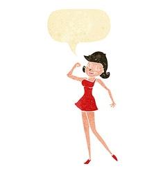 Cartoon woman with can do attitude with speech vector