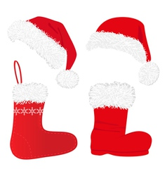 christmas caps and socks vector image