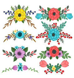Collection of flower bouquet embellishments vector