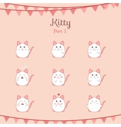 Cute funny cats set various emotions vector image vector image