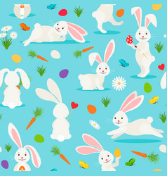 cute white rabbit seamless pattern vector image vector image