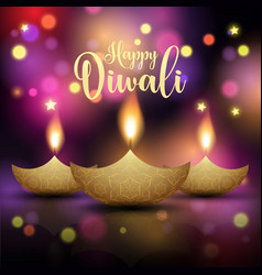Decorative diwali lamp background vector