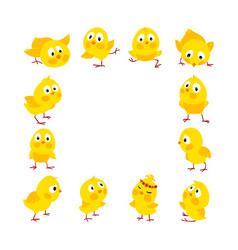 Easter square frame with chicks background vector