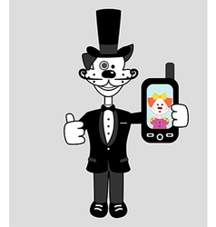 Gentleman dog with mobile phone vector