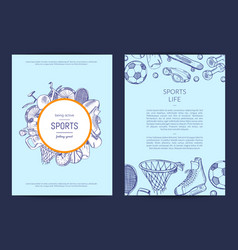 hand drawn sports equipment fitness gym vector image vector image
