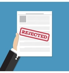 Hand holds rejected document vector image vector image