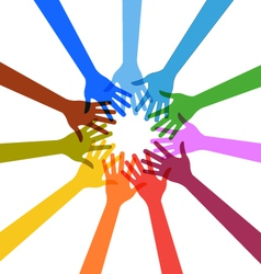 Hands touching each other in circle vector image vector image