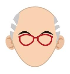 Head of elder man icon vector