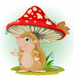 hedgehog under mushroom vector image vector image
