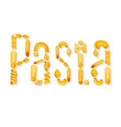 Italian pasta text lettering vector