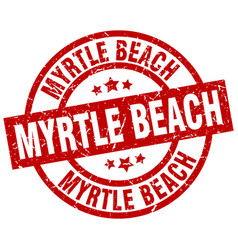 Myrtle beach red round grunge stamp vector