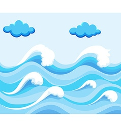 Nature scene with big waves in the ocean vector