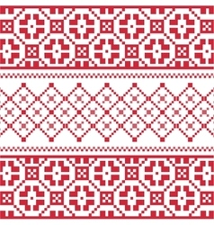 Red winter embroidery pattern vector image