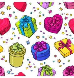 Seamless pattern of colorful sketch gifts with vector image vector image