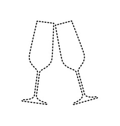 Sparkling champagne glasses black dashed vector